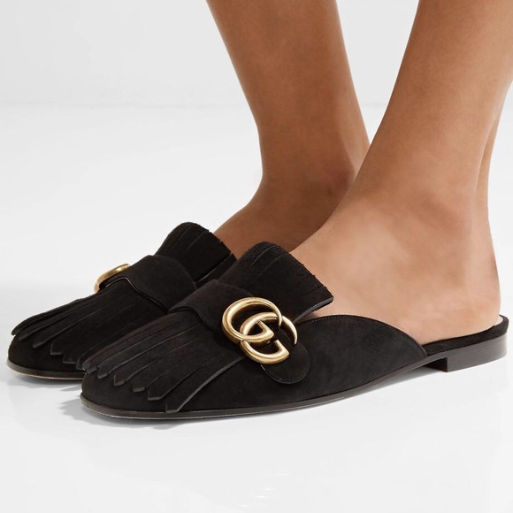 be117f3c5be8 Gucci Shoes - Gucci Marmont Black Suede Fringe Slide Slippers 41